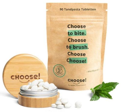Choose tandpasta tabletten in bamboe doosje - plasticvrij