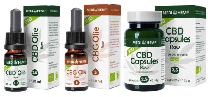 Medihemp cbd-olie puur, raw en capsules